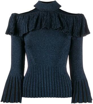 Self-Portrait halter neck flared lurex knitted top