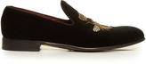 Dolce & Gabbana Crown and bee-embroidered velvet loafers