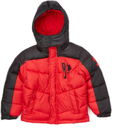 U.S. Polo Assn. Winning Red & Black Color Block Puffer Coat - Toddler & Boys