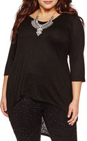 Bisou Bisou 3/4 Sleeve V Neck T-Shirt-Plus