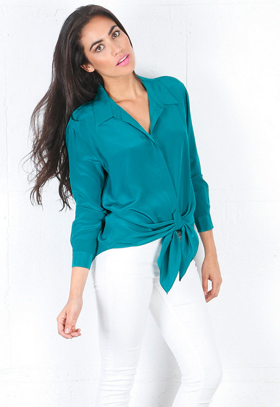 Rory Beca Dol Long Sleeve Blouse with Front Tie in Emerald -
