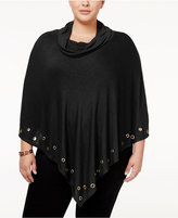Belldini Plus Size Embellished Cowl-Neck Poncho