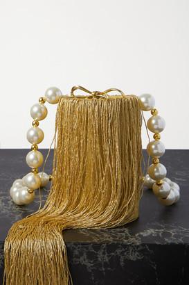 Vanina - Net Sustain Weeping Soil Fringed Silk-satin Shoulder Bag - Gold
