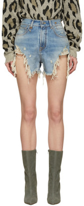 R 13 Blue Shredded Slouch Shorts