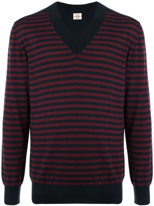 Kent & Curwen V-neck striped jumper
