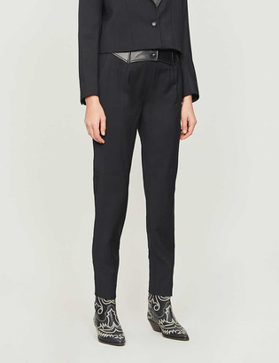 The Kooples Contrast-panel high-rise wool trousers