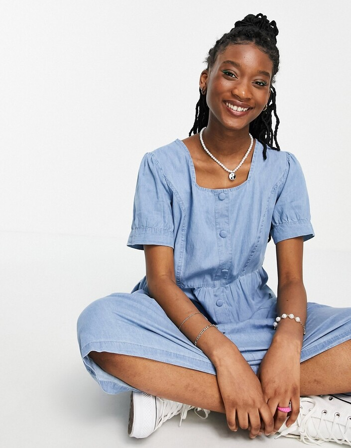 Thumbnail for your product : Qed London chambray midi dress in blue