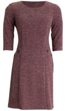 Connected Button-Trim A-Line Dress