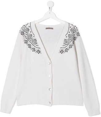 Ermanno Scervino TEEN embellished V-neck cardigan