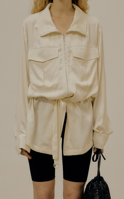 Low Classic Belted Crepe De Chine Zip-Front Jacket