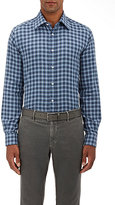 Luciano Barbera MEN'S PLAID COTTON DRESS SHIRT