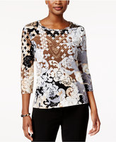 Alfred Dunner Printed Embellished Top