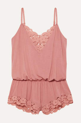 Eberjey Naya Lace-trimmed Stretch-modal Jersey Playsuit - Antique rose