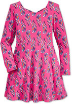 Epic Threads Long-Sleeve Feather-Print Dress, Toddler & Little Girls (2T-6X), Only at Macy's
