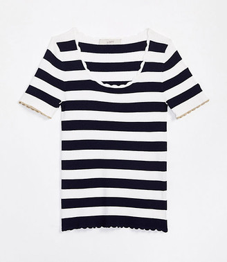 LOFT Shimmer Stripe Scalloped Sweater Tee