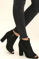 Bamboo Means So Much Burgundy Suede Peep-Toe Booties