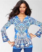 INC International Concepts Top, Long-Sleeve Exotic-Print Tunic
