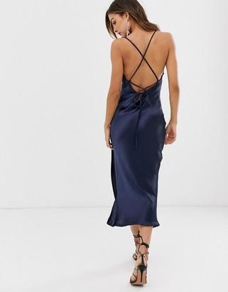 Asos Design DESIGN cami midi slip dress in high shine satin with lace up back-Blue