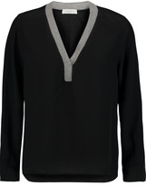 Sandro Erell woven-trimmed silk crepe de chine top