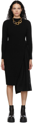 Sacai Black Wool Suiting Combo Sweater Dress