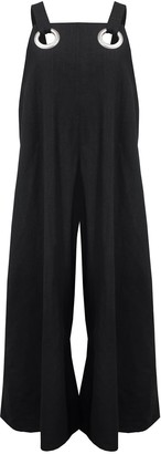 Keegan Black Cotton Linen Jumpsuit With Silver Eyelets