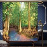 Wanranhome Custom-made shower curtain Rainforest Roots of Mangrove Trees with Turquoise Creek Asian Nature Wildlife Green Brown For Bathroom Decoration