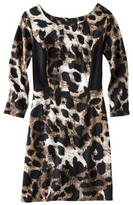 Xhilaration Juniors 3/4 Sleeve Ponte Knit Dress - Animal Print