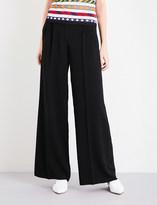 Mary Katrantzou Mid-rise wide-leg crepe trousers