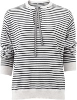 Brunello Cucinelli Stripe Keyhole Pullover Top