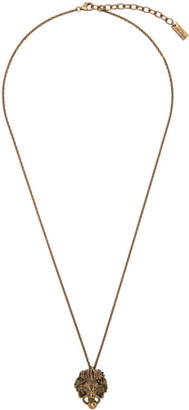 Saint Laurent Gold Lion Head Pendant Necklace