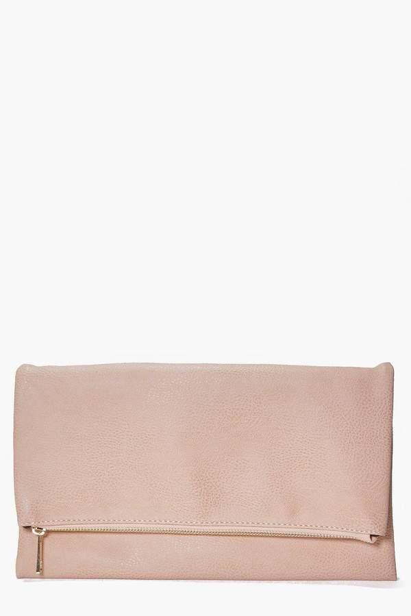 boohoo Daisy Fold Over Clutch Bag nude
