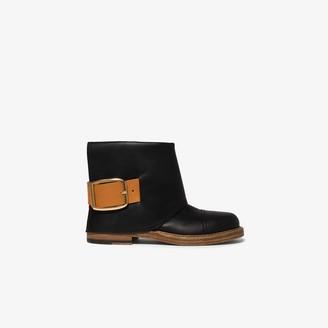 Alexander McQueen Black Leather Cuff Boots