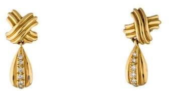 Tiffany & Co. 18K Signature X Drop Diamond Earrings