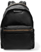 Stella McCartney The Falabella Faux Leather-trimmed Shell Backpack - Black