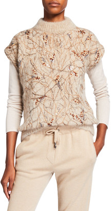 Brunello Cucinelli Mock-Neck Mohair-Wool Paillette Embroidered Sweater