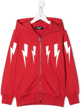 Neil Barrett Kids lightning bolt printed hoodie