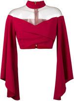 Balmain Off-Shoulder Top with Flared Sleeves - women - Silk/Polyamide/Polyurethane/Viscose - 36