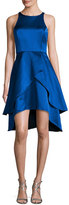 Shoshanna Sleeveless Tiered Satin Cocktail Dress, Cobalt