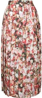 agnès b. Leaf-Print Pleated Skirt
