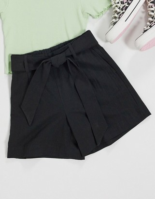 Selected shorts with tie waist in black