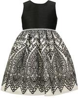 Jayne Copeland Black & White Abstract A-Line Dress - Toddler & Girls