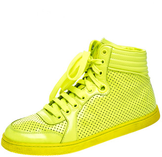 Gucci Neon Green Perforated Leather Coda High Top Sneakers Size 38