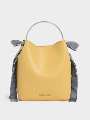 Charles & Keith Velvet Bow Detail Bucket Bag