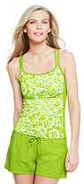 Classic Women's DDD Cup AquaSport Scoop Tankini Top-Bright Chartreuse Stencil