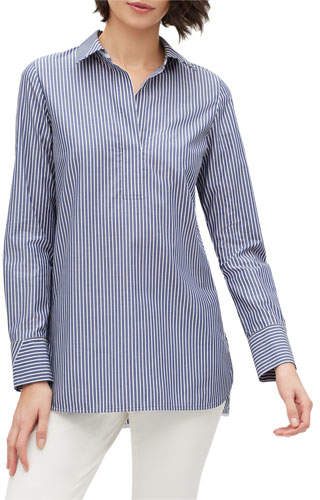 Lafayette 148 New York Plus Size Venida Striped Long-Sleeve Cotton Blouse