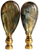 One Kings Lane Vintage Labradorite Lamp Finials on Brass
