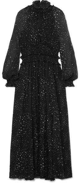 Giambattista Valli Ruffled Printed Silk-georgette Gown - Black