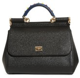 Dolce & Gabbana Small Miss Sicily Embellished Top Handle Leather Satchel - Black
