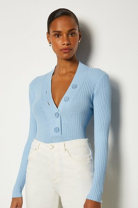 Karen Millen Plunge Button Knitted Jumper