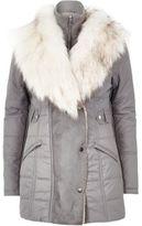 River Island Womens Light grey padded faux fur trim jacket